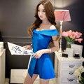 Original 2016 Marca Curto Femme Combinaison Playsuits Verão Plus Size Botões de Moda Elegante Cor Sólida Azul Das Mulheres Por Atacado