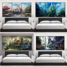 3Pcs Castle Rainbow Landscape Diy Oil Painting Wall Art Boat Temple Pagoda  Tower On Canvas Paintings Poster Frameless Home Decor 4e2a4235a6ce