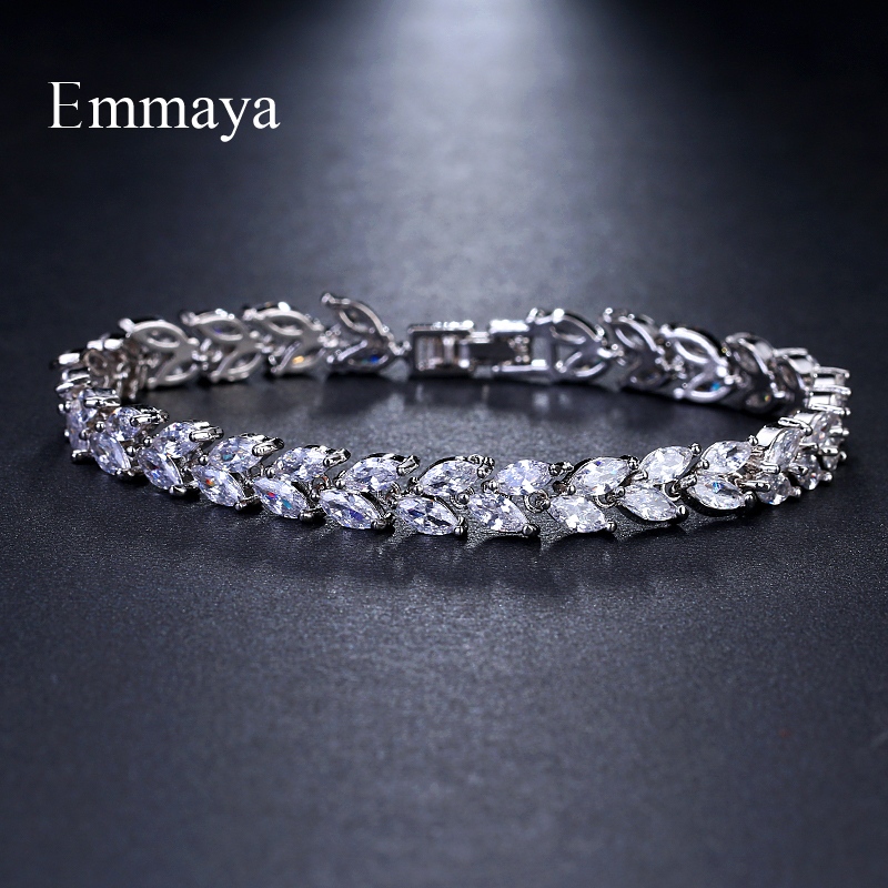 Emmaya Brand Fashion Charm AAA Cubic White Zircon Four Colors Leaf Jewelry Bracelets For Woman Elegance Wedding Party Gift