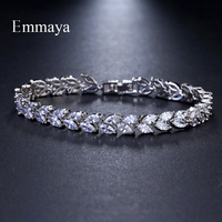 Emmaya Marke Mode Charme AAA Cubic Weiß Zirkon Vier Farben Blatt Schmuck Armbänder Für Frau Eleganz Hochzeit Party Geschenk