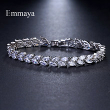 Emmaya Brand Fashion Charm AAA Cubic White Zircon Four Colors Leaf Jewelry Bracelets For Woman Elegance Wedding Party Gift(China)