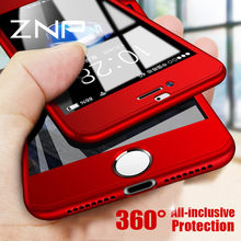 ZNP Luxury 360 Degree Red Phone Case For iPhone X 8 7 6 6s Plus With Tempered Glass Cover Cases For iPhone 7 8 X 10 Case Shell(China)