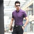 Новый стиль 2016 летние мужчины полосатый с коротким рукавом повседневная рубашка