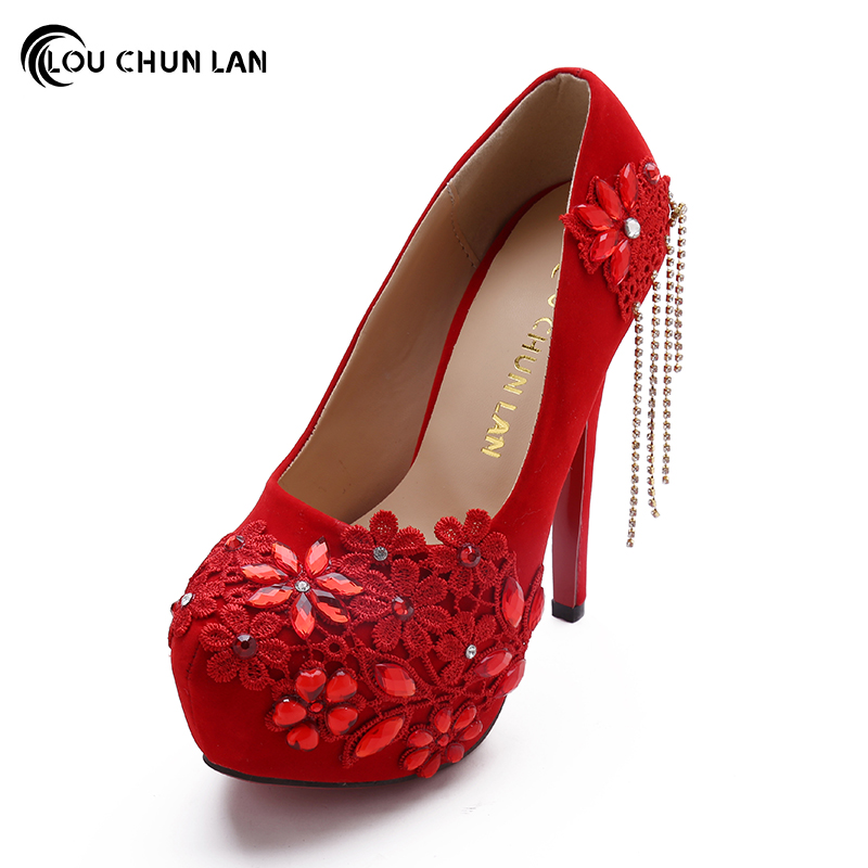 LOUCHUNLAN Shoes Women's Shoes Pumps Tassel Chain Chinese style Red Wedding Shoes Bride Shoes High heels Drop Shipping baoyafang white red tassels women wedding shoes bride 12cm 14cm high heels platform shoes woman high pumps female shoes