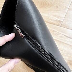 Image 5 - Morazora 2020 Nieuwe Collectie Vrouwen Knie Hoge Laarzen Ronde Neus Lederen Schoenen Vierkante Hakken Knight Platform Laarzen Vrouwelijke Zwarte