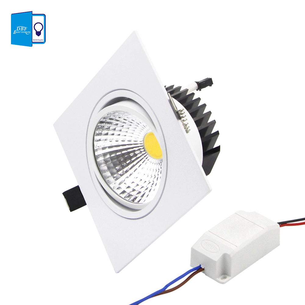 dbf super bright recessed led dimmable square downlight cob 7w 9w 12w 15w led spot light. Black Bedroom Furniture Sets. Home Design Ideas