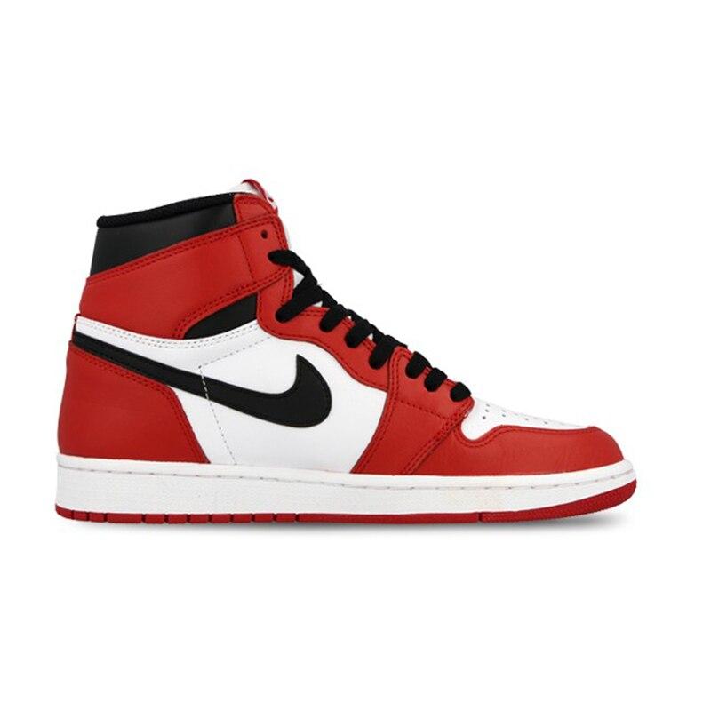 5c0e334f585 Nike Air Jordan 1 alto Retro OG auténtico rojo blanco transpirable zapatos  de baloncesto Mens zapatillas de deporte para hombres zapatos  555088 101 en  ...