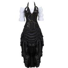 Bustiers מחוך חצאית שלוש מקשה עור שמלת מחוך steampunk פיראטים הלבשה תחתונה corsetto סדיר בורלסק בתוספת גודל שחור