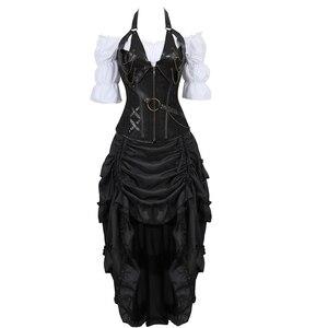 Image 1 - Corset en cuir trois pièces, bustier, robe irrégulière, steampunk, pirate, lingerie, noire, grande taille