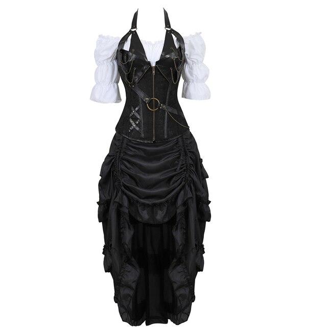 Corset en cuir trois pièces, bustier, robe irrégulière, steampunk, pirate, lingerie, noire, grande taille