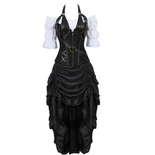 bustiers corset skirt three piece leather dress corset steampunk  pirate lingerie corsetto irregular burlesque plus size black