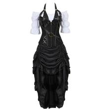 مشدات مشد تنورة ثلاثة قطعة جلدية اللباس مشد steampunk من القراصنة الملابس الداخلية corsetto غير النظامية سخرية زائد حجم أسود