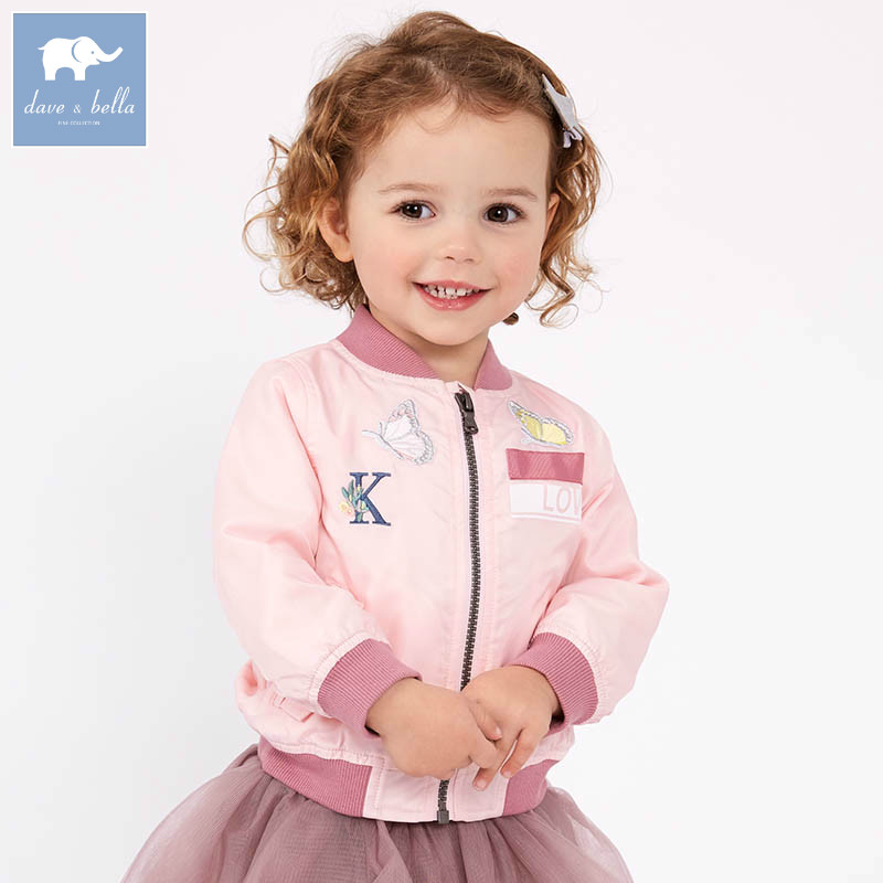 DB7356 dave bella spring infant baby girl fashion pink print coats children cute top kids high quality clothes