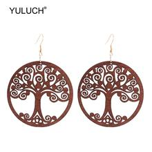 YULUCH Ethnic Black Red Pendant Earrings For Women Round Brown Hollow Life Tree Statement Big Hanging Jewelry Party