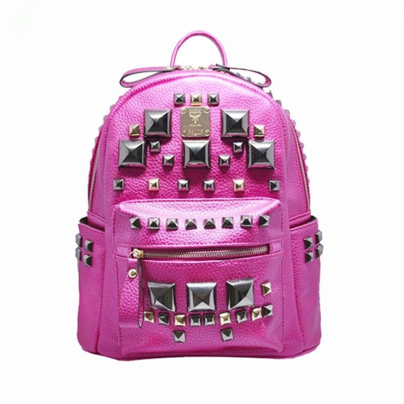 2016 Fashion Women Bag Waterproof PU Leather Rivet Backpack Women s Backpacks for Teenage Girls Ladies