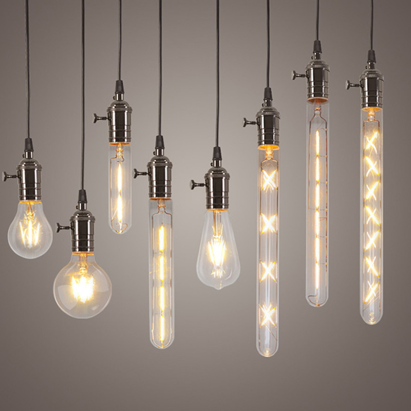 Найсвіжіші підвісні світильники Едісон Світлодіодні лампи 4 Вт 6 Вт 8 Вт Лампи лампи E27 220 В Підвіска для домашнього освітлення Ультра яскраві світлодіодні лампи розжарювання