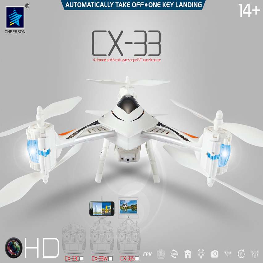 Cheerson CX-33 CX33 CX33C CX33S CX33W 4CH 6-axis 2.4GHz RC Quadcopter With 720P HD Camera RC Helicopter Professional Drones cheerson cx 20 drones auto pathfinfer open source flight controller 2 4ghz 4ch 6 axis rc quadcopter with gps helicopter drone