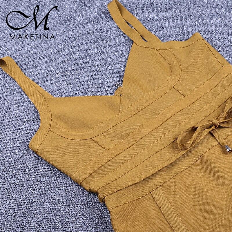 Été 2019 grande taille Bandage robe jaune grande taille moulante Bandage robe Sexy grande taille moulante robe femmes fête Clubwear XL - 6