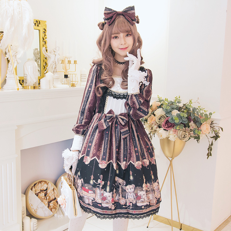 Vintage Steam Women Lolita dess Girl Long sleeve gothic bubble Dress Punk cosplay dress Maid Costumes with headband