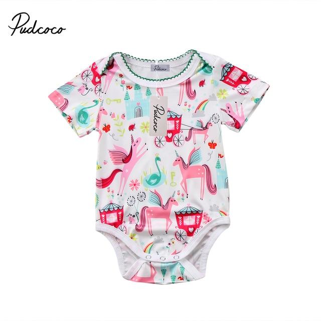 947b8754b Pudcoco Newborn Baby Girls Unicorn Romper Jumpsuit Playsuit Summer ...
