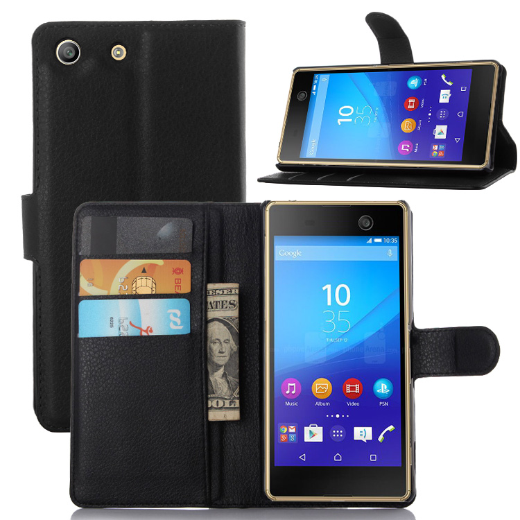 Luxury Stand Wallet Style PU Leather Case for SONY Xperia M5 Flip Leather Cover with Card Slot Rose visa