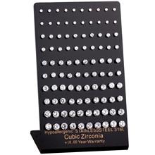 Brincos 50 pares/lote hipoalergênicos, brincos brilhantes de aço inoxidável 316l de zircônia cúbica 3mm 7mm
