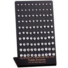 Pendientes de circonia cúbica de acero inoxidable, aretes brillantes hipoalergénicos de 316L, 3mm 7mm, 50 par/lote