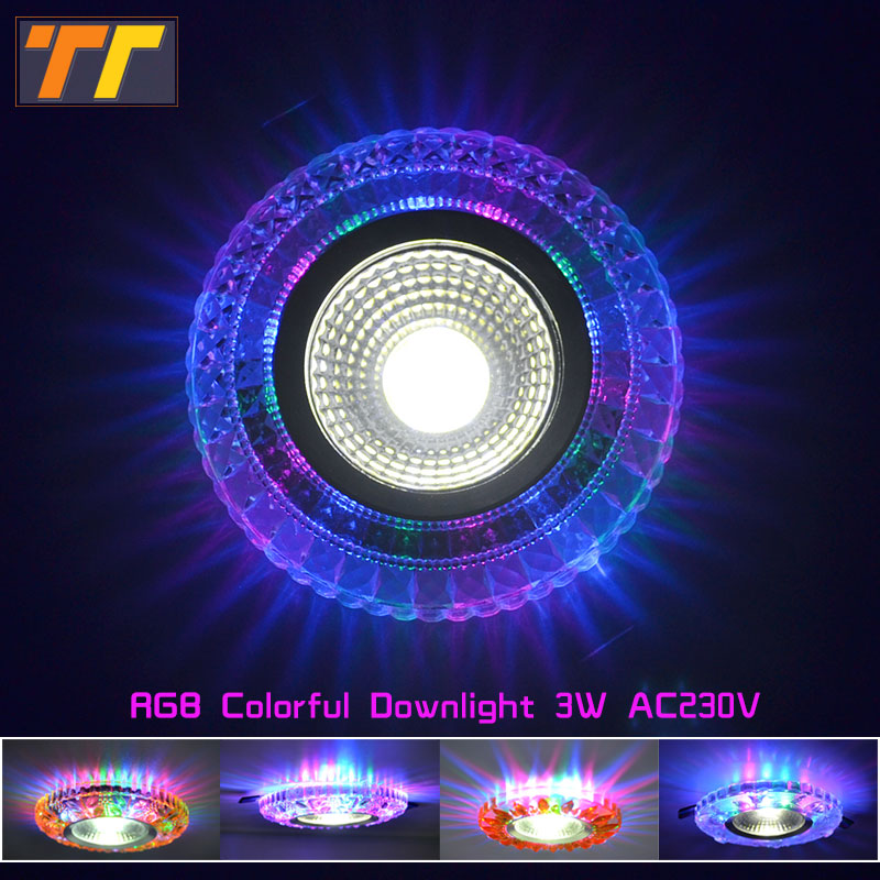 LED Colorful downlight cob AC100 230V 3W led ceiling downlight rainbow RGB lamp ceiling spot light