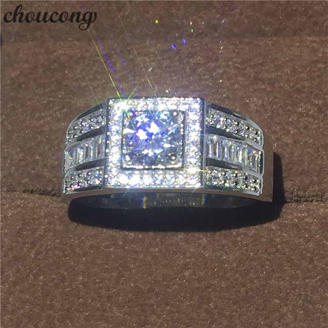 Fine Jewelry Genuine Soild 925 Sterling Silver Wedding Band Rings For Men 15ct Diamonique Cz