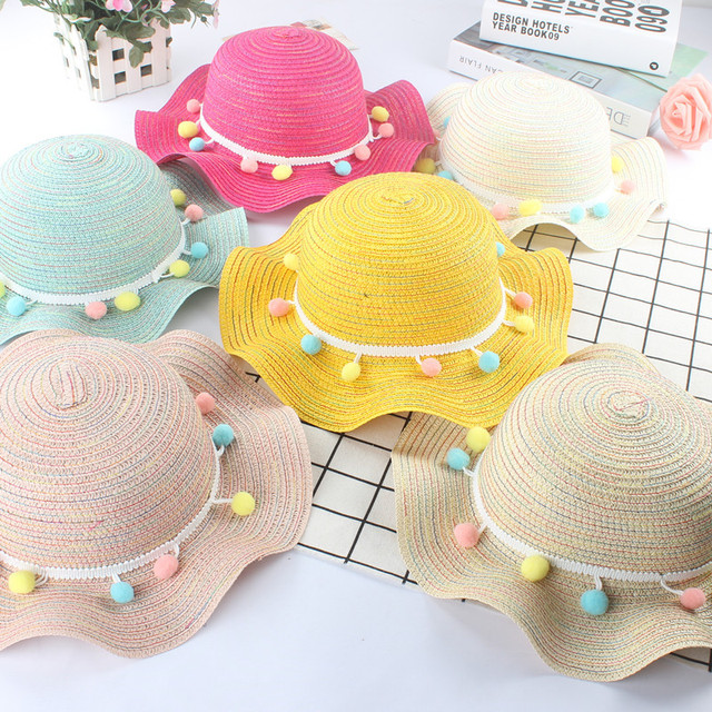 New Fashion Summer Kids Straw Hats Colorful Tassel Balls Children Beach Cap Baby Photography Props Baby Girl Hat Sun Visor Caps