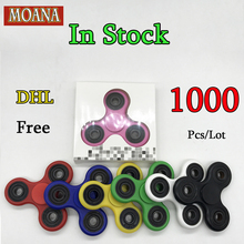 1000PC In stock Tri-Spinner Fidget Toy Plastic EDC Hand Spinner For Autism and ADHD Rotation Anti Stress Glow in the dark Toys