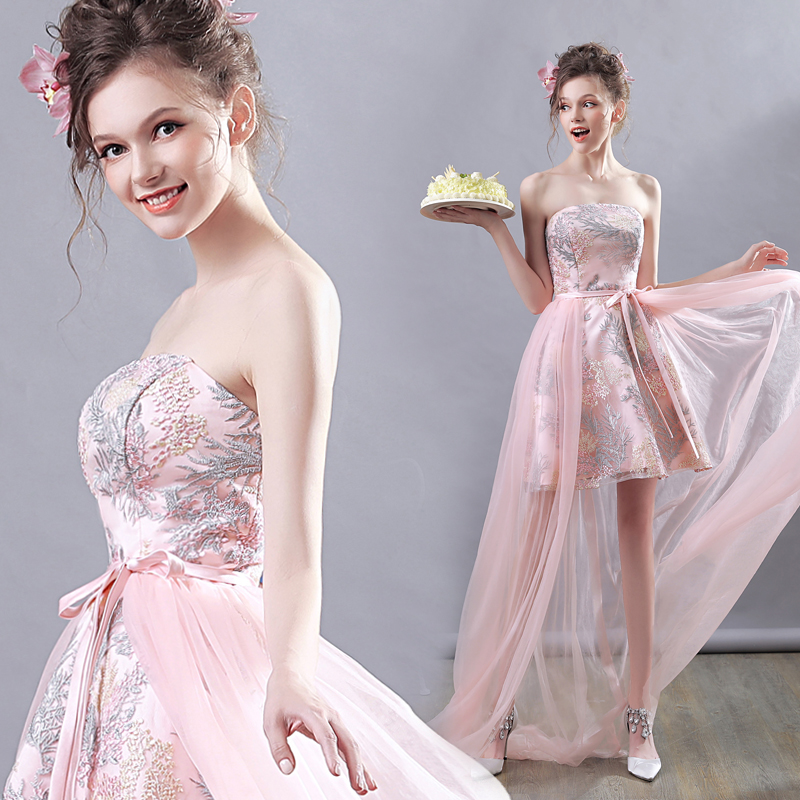It's YiiYa   Prom     Dress   Embroidery Flowers Strapless High Low length Pink Floral Print Bow Lace Up sleeveless Party   Dresses   E184