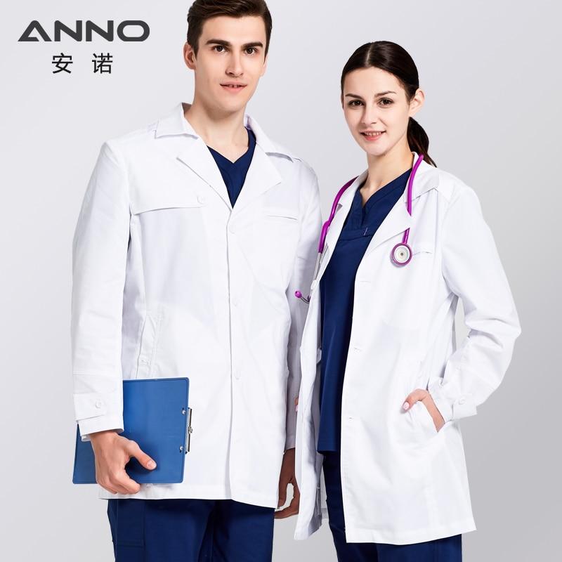 ANNO Fehér laboratóriumi kabát női számára Férfi gomb - Újdonság