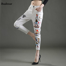 Baalmar White Embroidery Flowers Casual Pants Large Size Summer Women New Fashion Vintage Pants Capris Trousers Women
