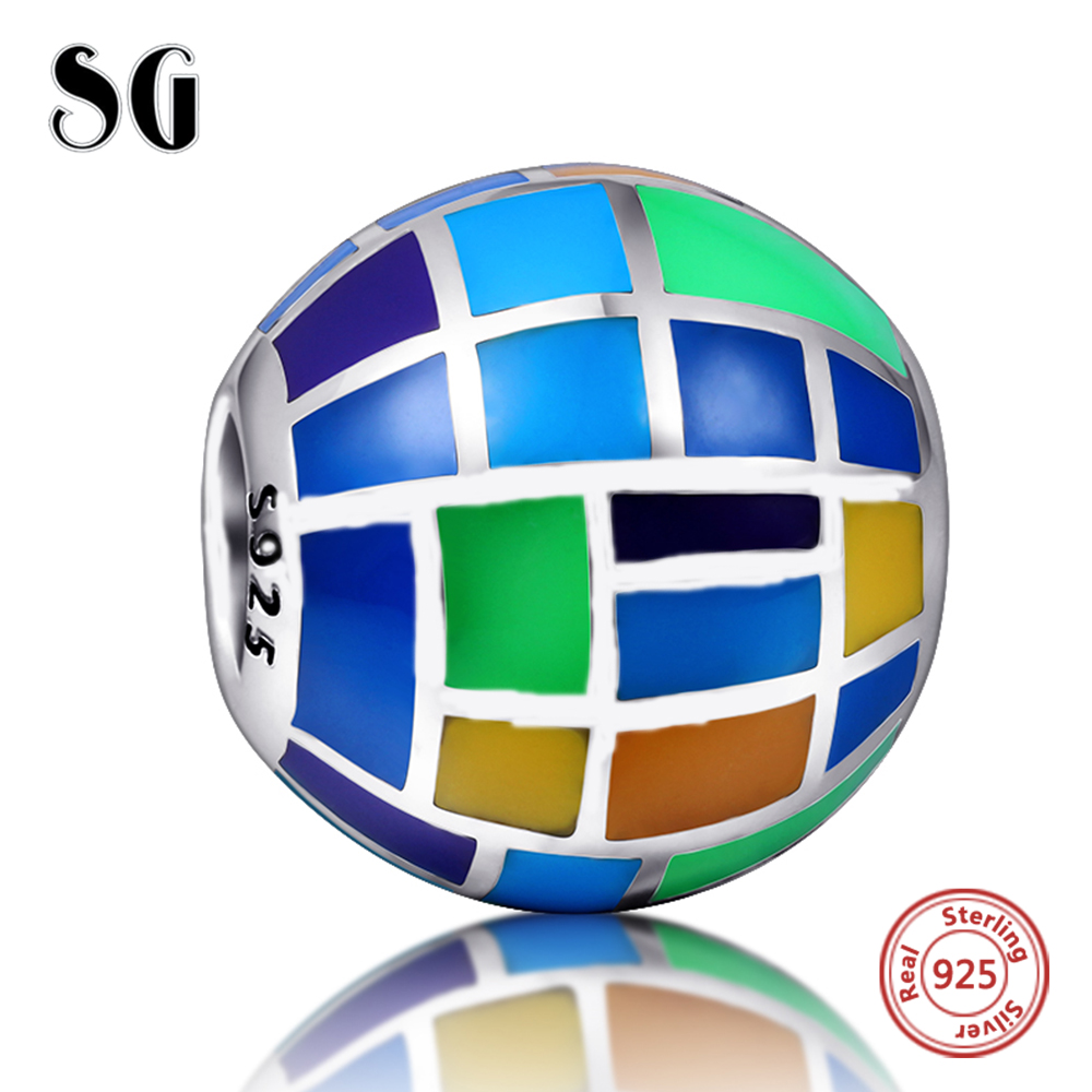 2018 Winter Collection DIY Fit Original pandora Charms Bracelets Jewelry Making 925 Sterling Silver Cute earth colorful enamel in Beads from Jewelry Accessories