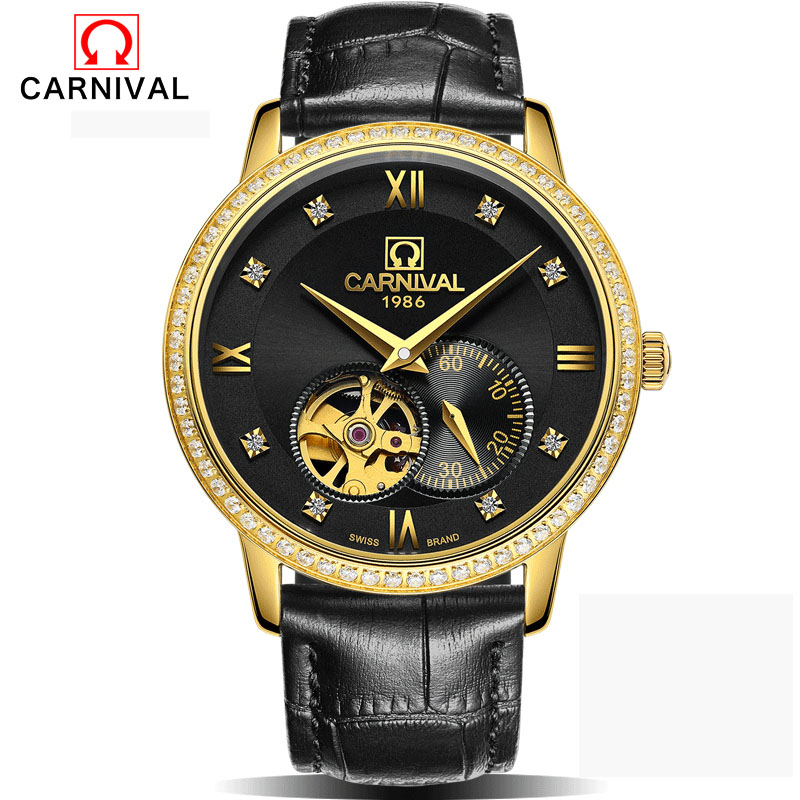 2016 Carnival Hollow Engraving Skeleton Casual Designer Black Golden Case Gear Bezel Watches Men Luxury Brand Automatic Watches