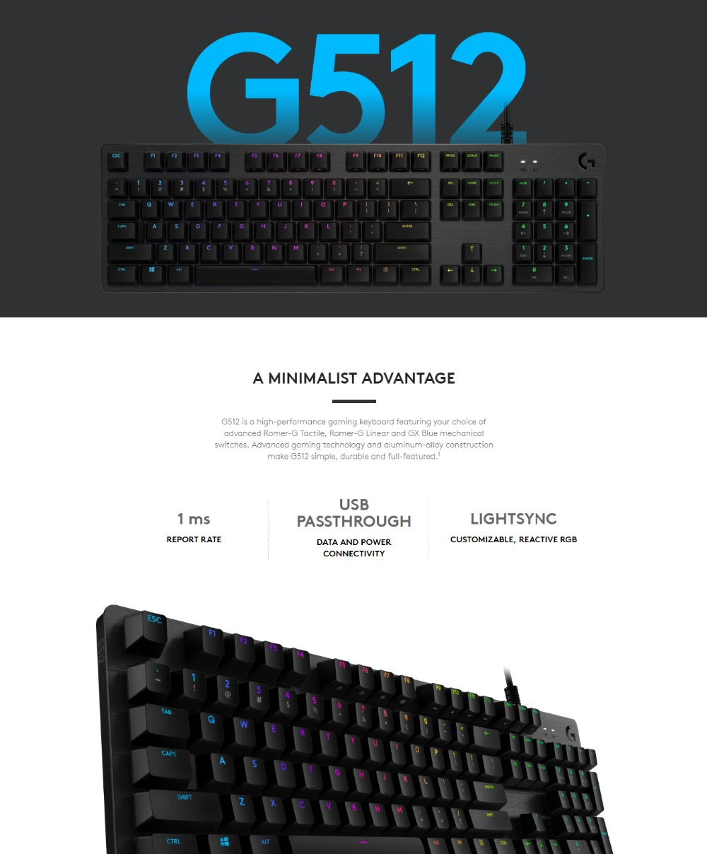 1a37858b913 Specifications of Logitech G512 CARBON Full Size RGB Mechanical Gaming  Keyboard with ROMER-G Switch