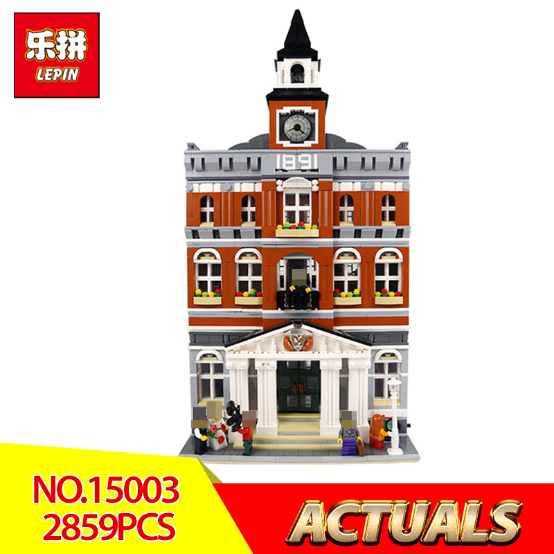 Lepin 15003 New 2859Pcs Creators town hall Model Building Kits Blocks Kid Toy Compatible Brick Christmas Gift LegoINGlys 10224 free dhl shipping lepin 15003 new 2859pcs creators the town hall model building kits blocks kid toy gift