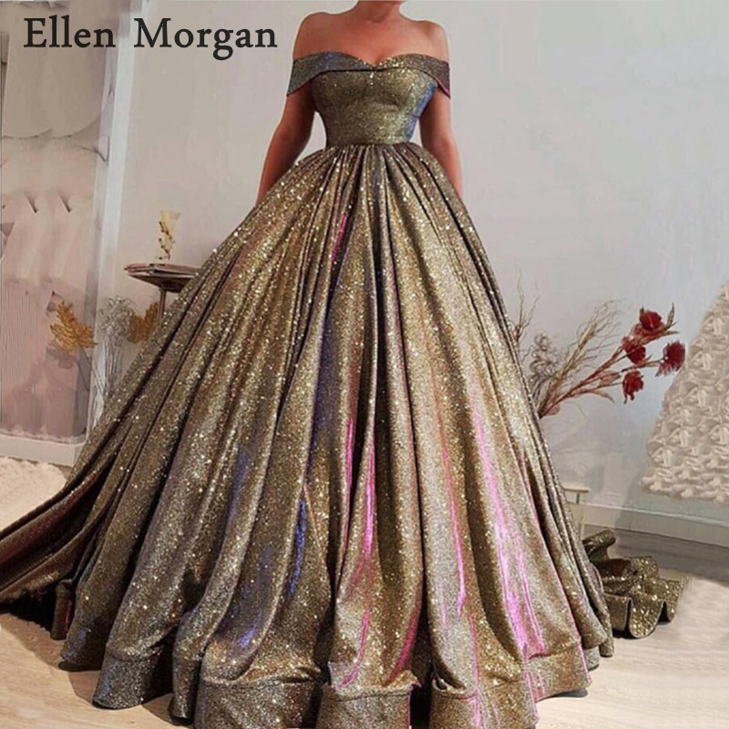 Elegant Glitter Ball Gowns   Prom     Dresses   with Sweetheart Neck Lace up Floor Length Off Shoulder Custom Made Party Gowns 2019