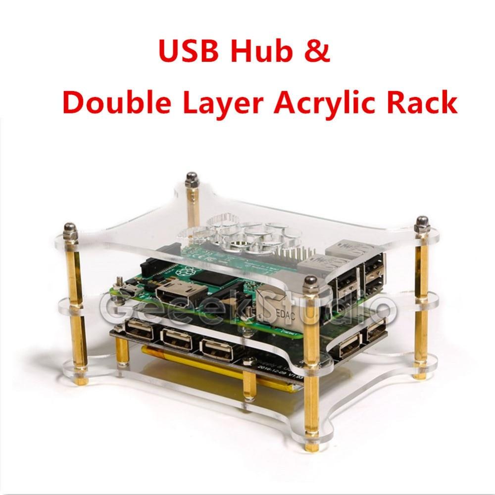 5-Port USB 2.0 Hub Power Supply Module With Double Layer Acrylic Rack For Raspberry Pi 3B/2B/B+/Zero, Not Include Raspberry Pi