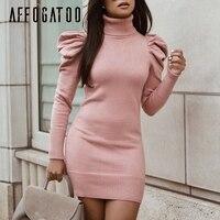 Affogatoo Elegant Turtle neck bodycon autumn winter knitted dress women Puff shoulder pink sweater dress Sexy ladies short dress