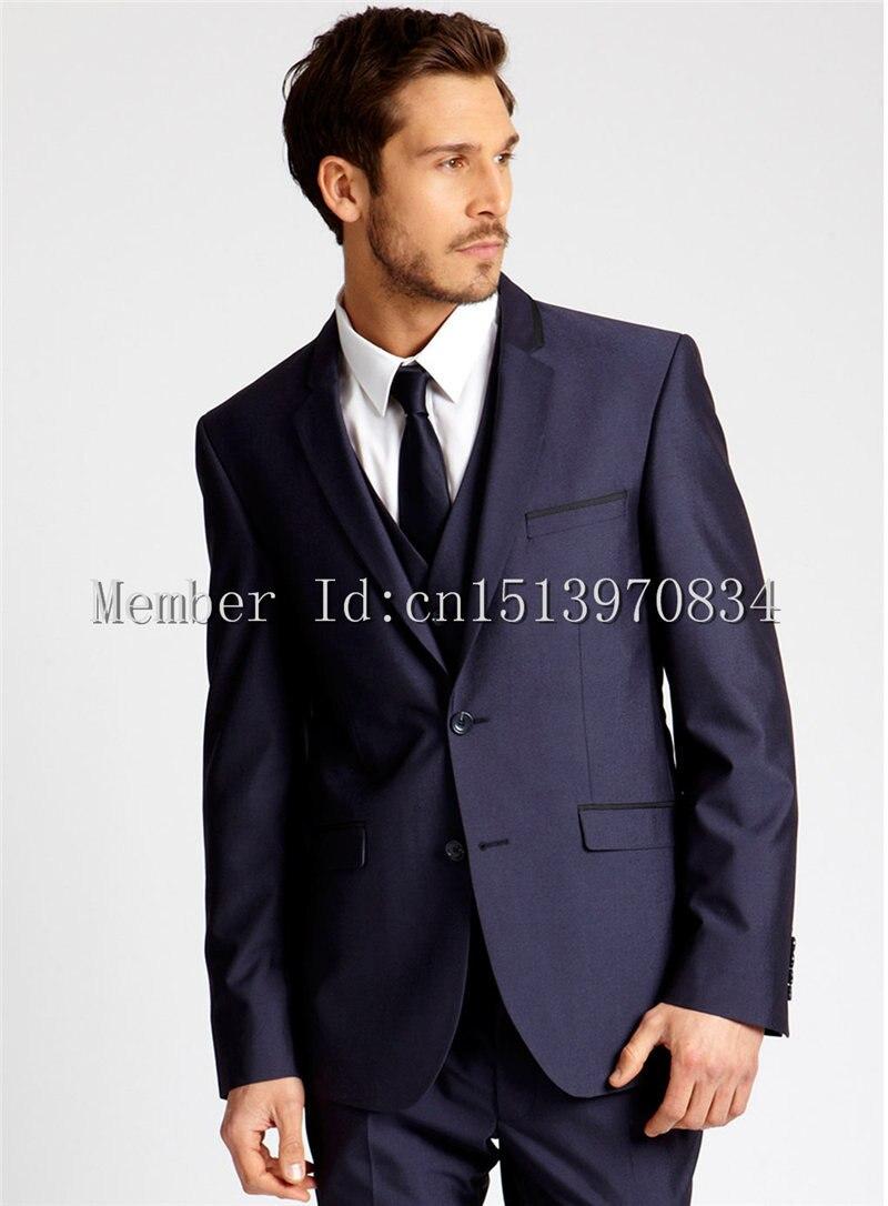 2015 por encargo James Bond traje azul oscuro novio esmoquin ...