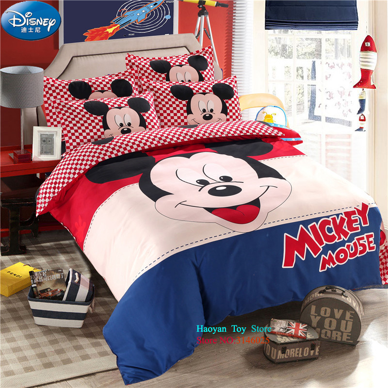 Disney Mickey 4pcs/set Aloe Cotton Duvet Cover Pillowcase Set For 1.5M Bed Adult Kids Bedding Set for Child Bedroom Decor Bed 2 0m 4pcs flamingo print striped duvet cover set