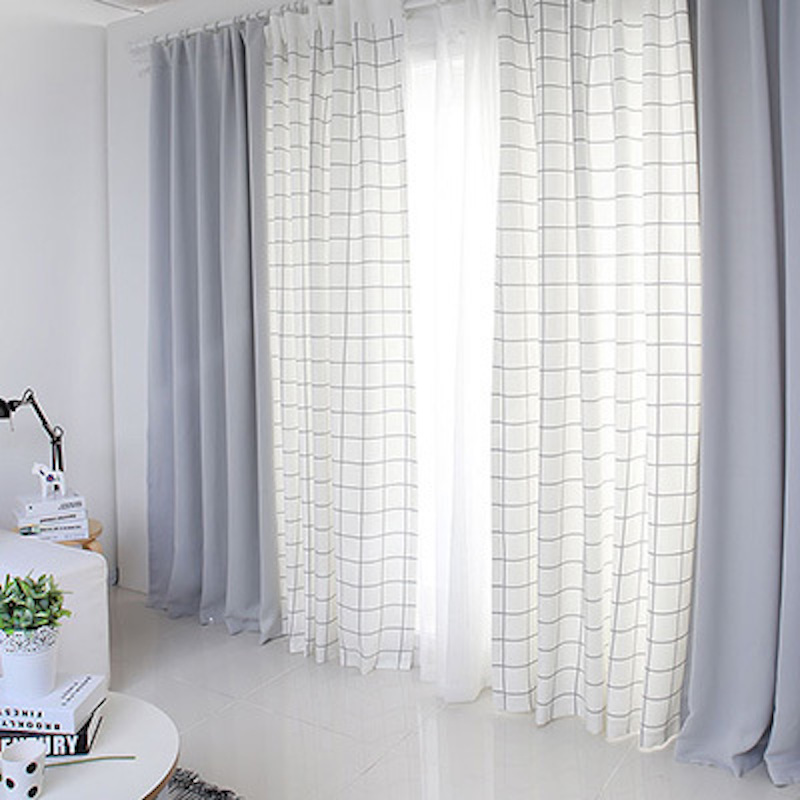 Quality Patchwork Drapery Panel Living Room Window Dressing Drape Draw Wave Grommet Curtain Custom Made Plaid