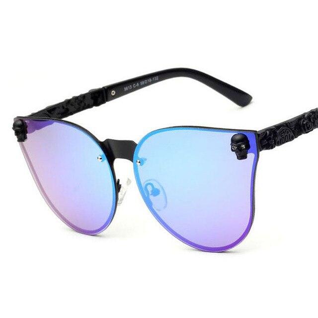 92c98d9dd3c93 Metal MEN Women Cat eye Sunglasses brand vintage retro steampunk Polarized  sunglasses women SKULL sun glass Oculos de sol
