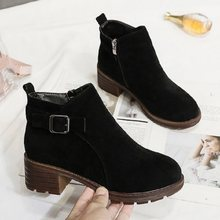 Women's booties 2019 new autumn and winter fashion ins high heel thick with female short boots round head zipper women's booties(China)