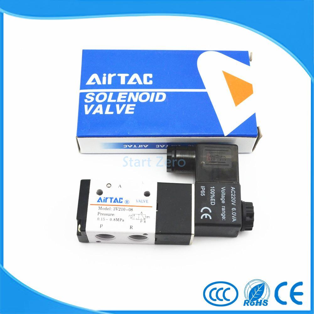 Pneumatic 3 Way 2 Position 1/4  AIRTAC Solenoid Valve  3V210-08 airtac solenoid valve 3v220 08 3v200 series 3 2 way 1 4 bspt pneumatic air control valve
