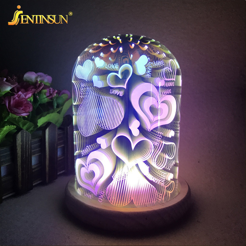 3D Glass Magic Night Light Creative USB LED Christmas Night Lights Bedside Lamp Home Atmosphere Baby Kids Room Gift Light creative chocolate shape wireless led night light home decoration lamp waterproof touch control dimming lights for baby kids