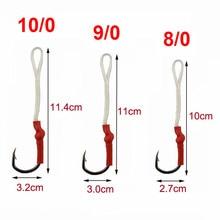 JSM 50pcs/lot Stainless Steel Fishing Hook With PE Line Fly Tying Jig Assist Bait Fish hooks Carp Fishing hooks size 1/0-10/0