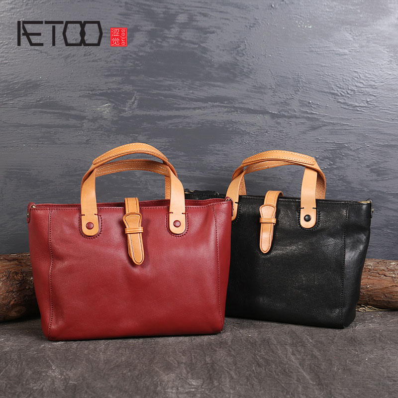 Aetoo The New Color Large Capacity Leather Handbags Imported First Class Shoulder Messenger Handbag In Top Handle Bags From Luggage On